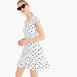 J. Crew Polka Dot Ruffle Front Mini Dress size 0